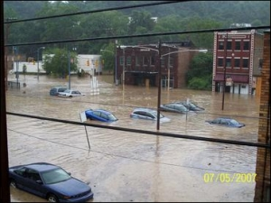 Parts of Aliquippa, Beaver County, were left flooded after storms dumped heavy rain on the area